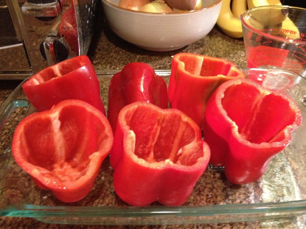 white bean and kale stuffed peppers