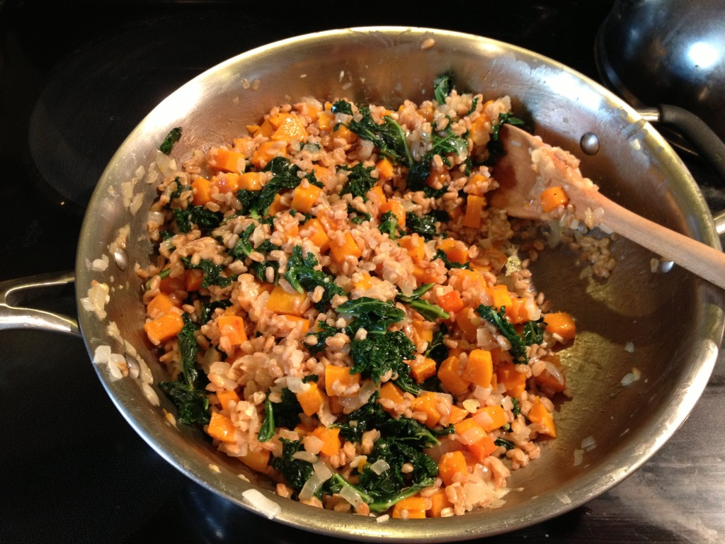 farro risotto with butternut squash & kale from coffee & quinoa