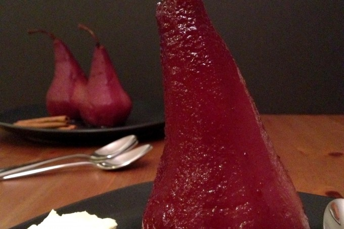 red wine poaches pears