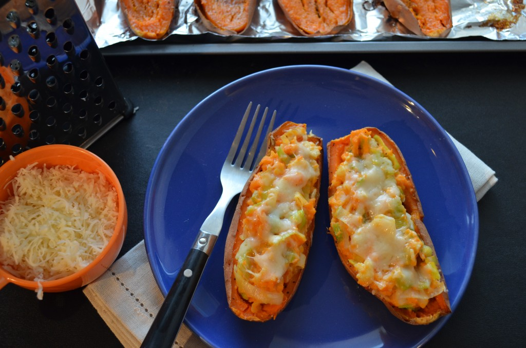 Healthy Leek and Gruyere Sweet Potato Skins