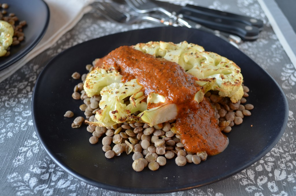 Cauliflower Steak with Lentils and Charred Red Pepper Steak Sauce | coffeeandquinoa.com