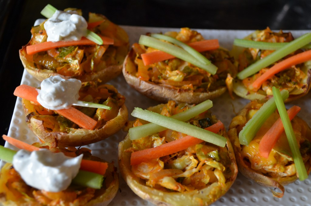 Buffalo Brussels Potato Skins with Lightened Up Blue Cheese Dressing | coffeeandquinoa.com