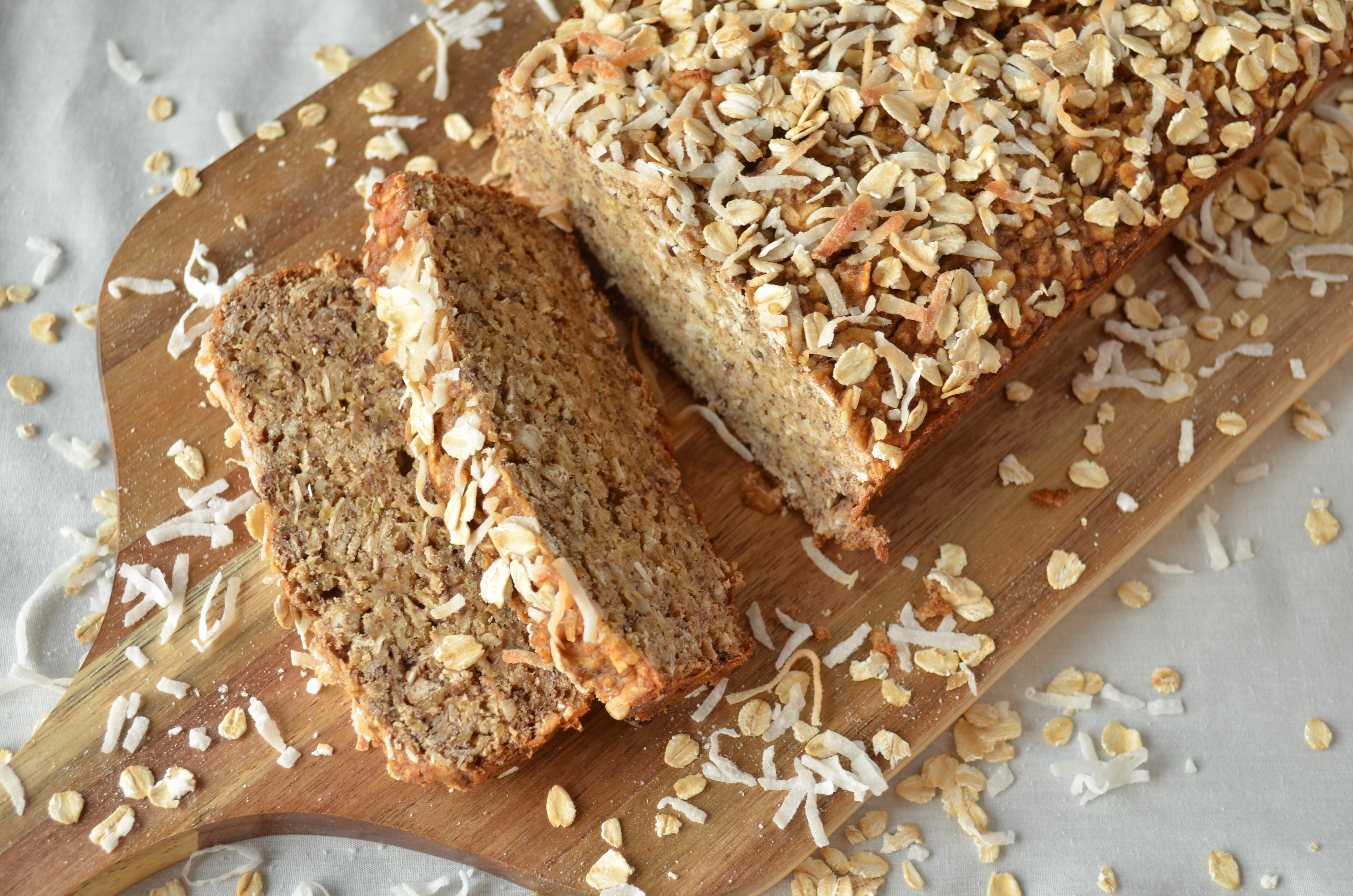 For now, enjoy this banana bread with coconut and whole quinoa grains ...