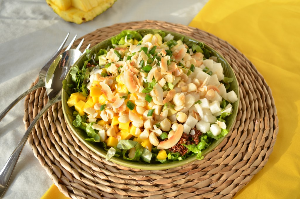 Tropical Chopped Salad with Mango, Pineapple and Coconut | coffeeandquinoa.com