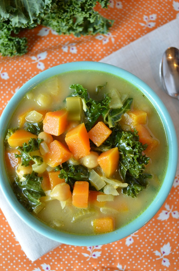 butternut kale and chickpea soup with tahini broth