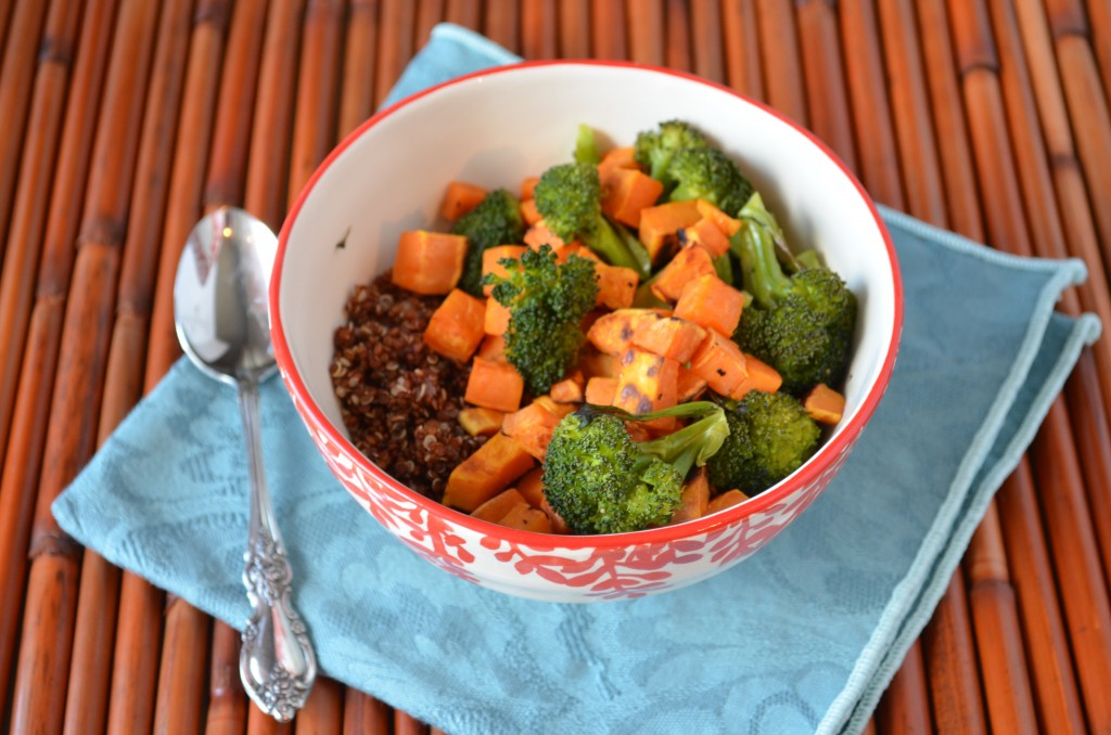 Roasted Veggie Quinoa Bowl with Miso Tahini Sauce