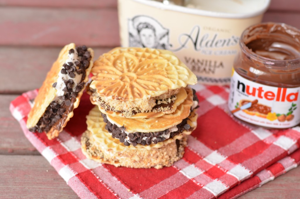 Pizzelle Nutella Ice Cream Sandwiches