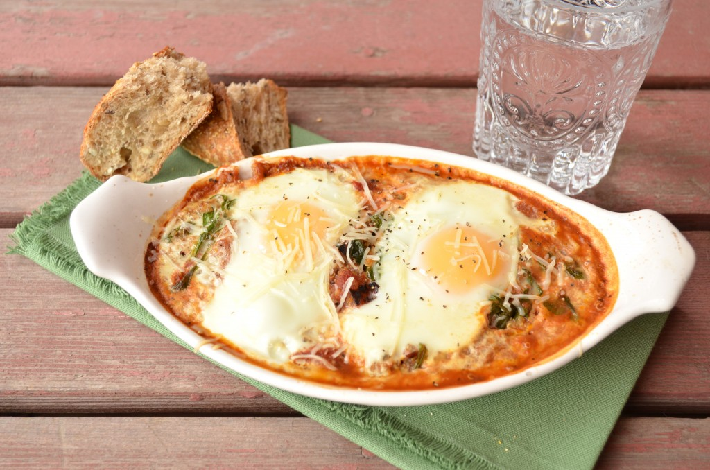 Baked Eggs with Tomato Sauce, Spinach and Quinoa