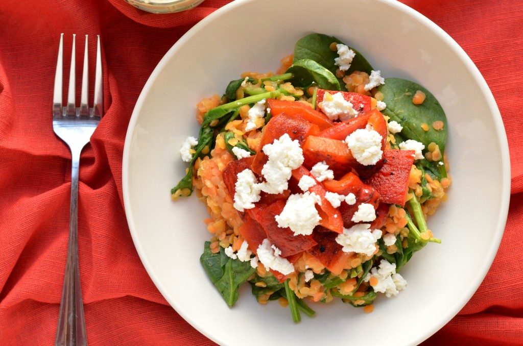 Warm Lentil Salad with Roasted Red Peppers and Spinach
