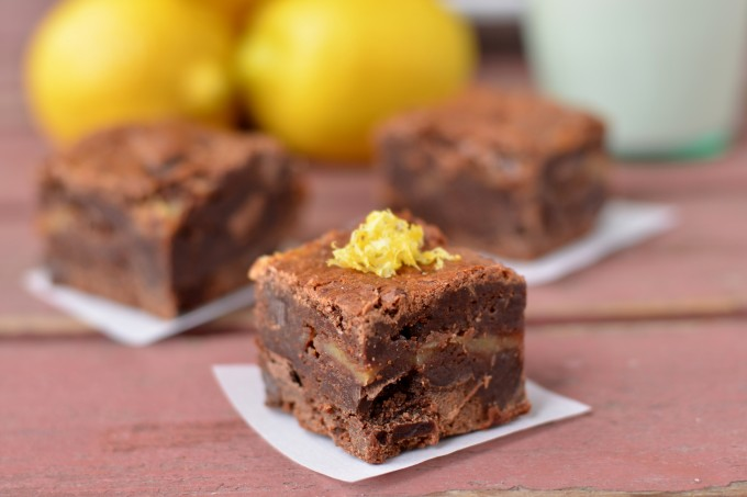Fudgy Brownies with Lemon Curd