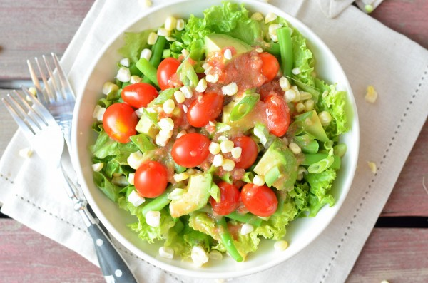 Summer CSA Salad with Red Wine Tomato Vinaigrette