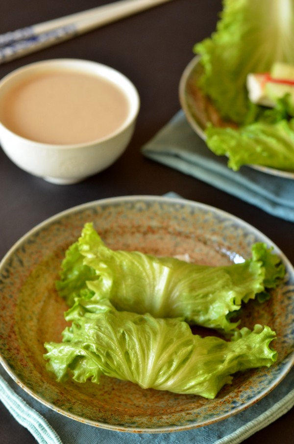 Fresh Lettuce Wraps with Peanut Dipping Sauce