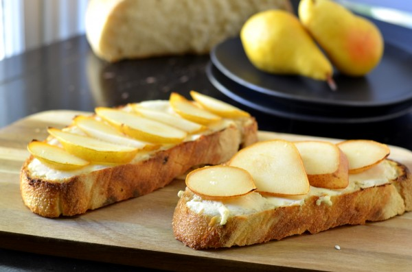 Pear and Goat Cheese Tartines