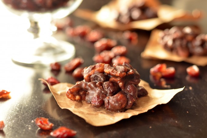 Chocolate Cranberry-Walnut Clusters