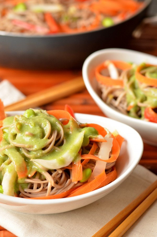 Soba Noodles with Miso-Scallion Dressing