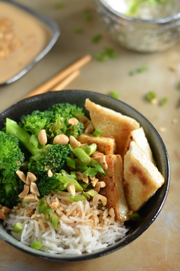 Crispy Tofu Rice Bowls with the Best Thai Peanut Sauce