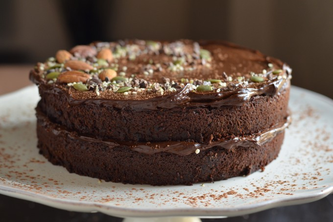 Fudgy Chocolate Beet Cake with Chocolate Avocado Frosting (Vegan + GF)