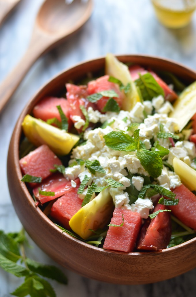 Watermelon, Heirloom Tomato And Feta Salad Recipe — Dishmaps